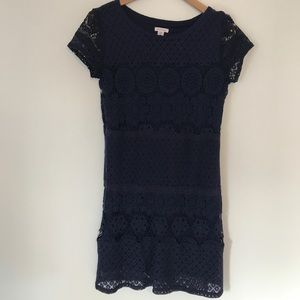 Navy dress with lace details - size medium